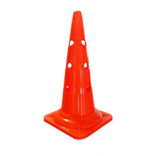 Capetan® 50 cm hohes orangenfarbenes Markierungshütchen oben mit Einkerbungen für Stangen, mit 12 Löchern an der Seite