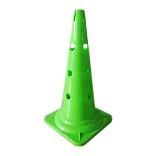 Capetan® 50 cm hohes grünes Markierungshütchen oben mit Einkerbungen für Stangen, mit 12 Löchern an der Seite