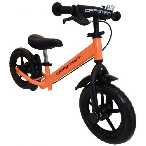 """Capetan® Neptun Orangenfarbiges mit Bremse versehenes Laufrad mit 12"""" Rädern mit Schutzblech und Klingel – Kinderfahrrad ohne Pedal"""