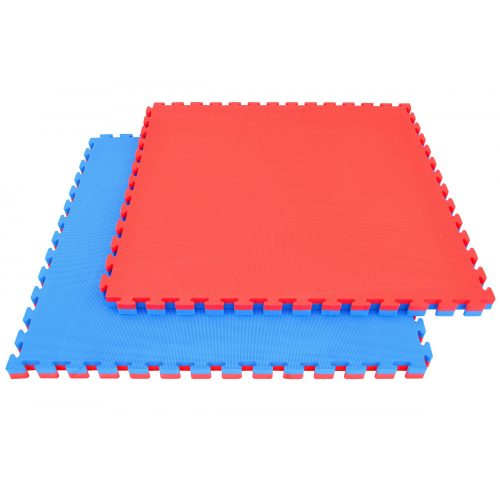 Capetan® Floor Line 100x100x2,5 cm rot-blaue Puzzle-Tatamimatte in einer Ausführung mit 100 kg/m3 hoher Dichte