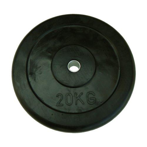 Capetan® 20 kg gummierte standardmäßige Hantelscheibe von 31 mm Durchm. mit einem Stahlring in der Mitte – Gummi-Hantelscheibe – gummiüberzogene Hantelscheibe