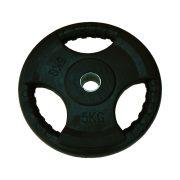 Capetan® Tri Grip gummierte ergonomische 5 kg Hantelscheibe mit 31 mm Lochdurchmesser