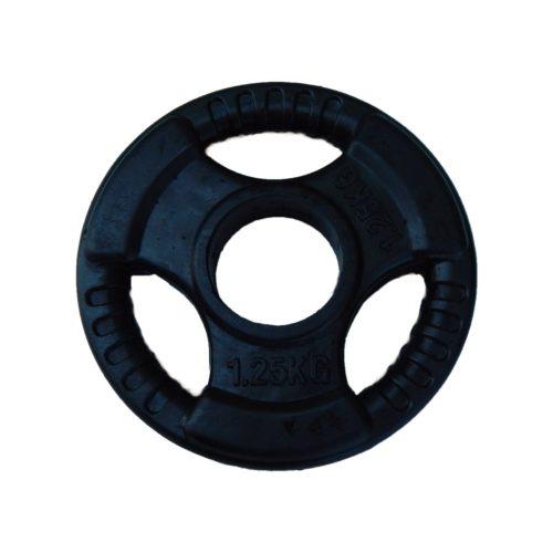 Capetan® Professional Line Olympic Tri Grip gummiüberzogene 1,25 kg Hantelgewicht aus Stahl – Hantelscheibe mit 51 mm Lochdurchmesser und Griffen