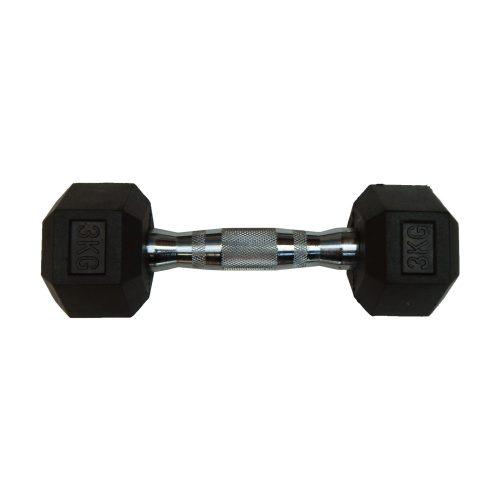 Capetan® Professional Line 3 kg HEX Einhand-kurzhantel für Fitnessraum mit gummierten Köpfen und verchromtem Griff – gummierte Hexagonhantel