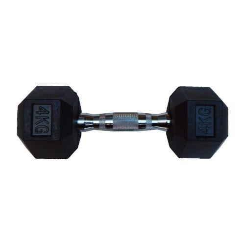Capetan® Professional Line 4 kg HEX Einhand-kurzhantel für Fitnessraum mit gummierten Köpfen und verchromtem Griff – gummierte Hexagonhantel