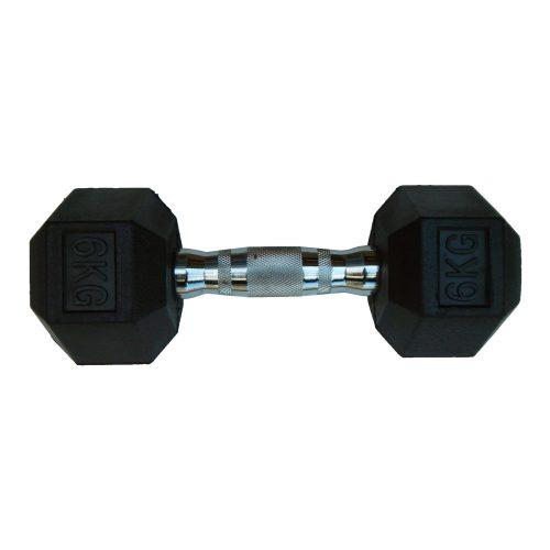 Capetan® Professional Line 6 kg HEX Einhand-kurzhantel für Fitnessraum mit gummierten Köpfen und verchromtem Griff – gummierte Hexagonhantel