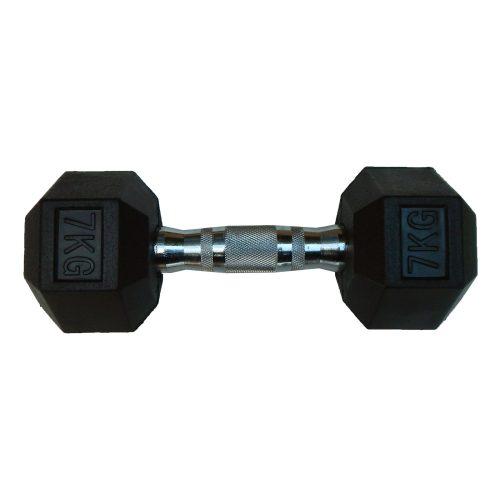 Capetan® Professional Line 7 kg HEX Einhand-kurzhantel für Fitnessraum mit gummierten Köpfen und verchromtem Griff – gummierte Hexagonhantel