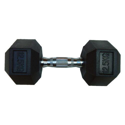 Capetan® Professional Line 12,5 kg HEX Einhand-kurzhantel für Fitnessraum mit gummierten Köpfen und verchromtem Griff – gummierte Hexagonhantel