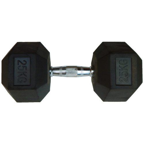 Capetan® Professional Line 25 kg HEX Einhand-kurzhantel für Fitnessraum mit gummierten Köpfen und verchromtem Griff – gummierte Hexagonhantel