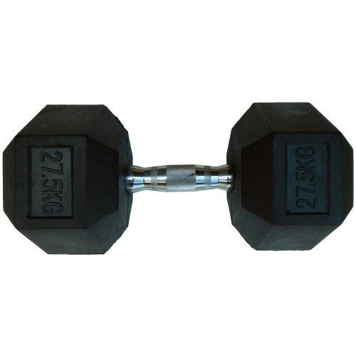 Capetan® Professional Line 27,5 kg HEX Einhand-kurzhantel für Fitnessraum mit gummierten Köpfen und verchromtem Griff – gummierte Hexagonhantel