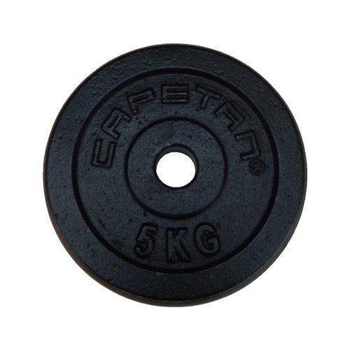 Capetan® 5 kg 31 mm Durchm. Hantelscheibe aus Stahl mit schwarz-seidenem Bezug – Hantelgewicht aus Eisen