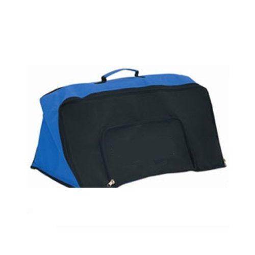 Speziell gestaltete Sporttasche zum Transportieren, Speichern eines Minihürdensets (für 6 Stck. 30 cm hohe Hürden) mit durch Reißverschluss nach unten öffnendem Fach, mit zwei verschiedenen Speicherfächern für Sportausrüstungen